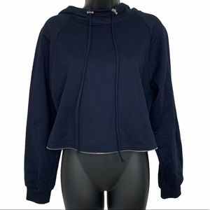 Cedric Charlier Cropped Hooded Sweater Navy Size 8